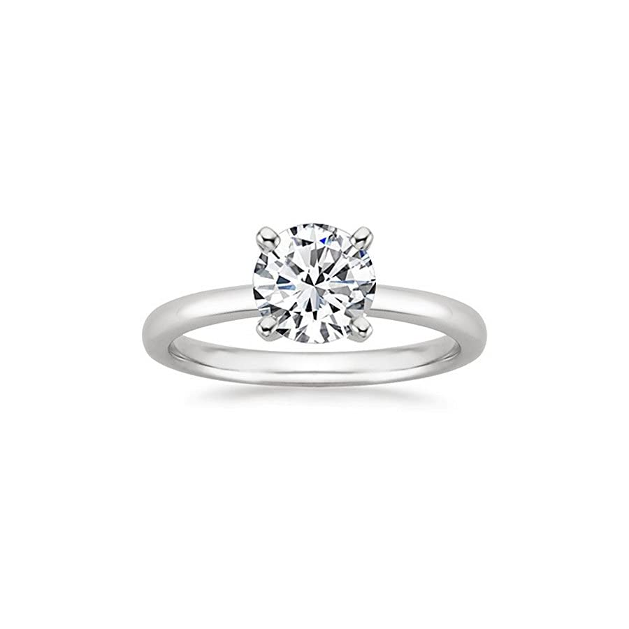 18K White Gold 4 Prong Round Cut Solitaire Diamond Engagement Ring (3 Carat G H Color I1 I2 Clarity)