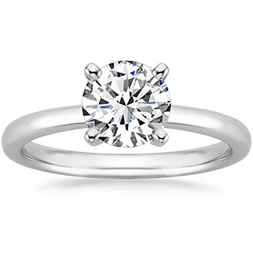 14K White Gold Round Cut Solitaire Diamond Engagement Ring (2 Carat J-K Color I1 Clarity) ()