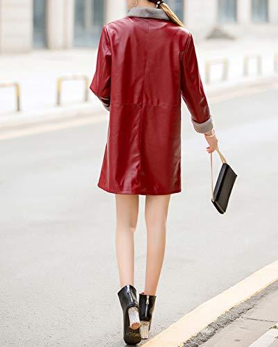 Trench Risvolto Bottoni Giacca A Inverno Rosso Di Chiusura E Media Lungo Vestibilità Autunno Classico Pu Snone Donna Cappotto Caldi Slim Pelle Moda Lunga HqaSXw