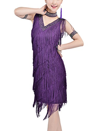 Whitewed 20s Style Great Gatsby Flapper Charleston Prom Dress Costume Purple]()