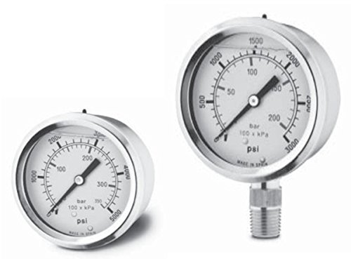 Glycerine Filled Pressure Gauges: 2 1/2'' DIAMETER, 0-2000 PSI, Stainless Steel Case, Plexiglass Crystal, Dial is Aluminum, Bottom connection 1/4'' NPT brass, 221560 (Filled 2 1/2' Gauges)