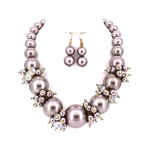 Comelyjewel Fashion Jewelry Lady Simulated Pearl Beaded Collar Women Necklace and Earrings Set (Metallic Gray)