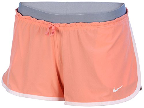 Nike Womens Dri-Fit Full Flex 2-In-1 Training Shorts-Coral/Wolf Grey-Large
