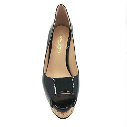 Merumote Zapatos De Plataforma De Tacón Alto Para Mujer Peep Toe Bombas Para Vestido De Fiesta De Boda Negro Con Plataforma De Madera