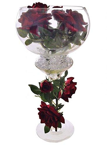 Jarrón Grande Estilo Copa En Cristal Con Rosas Artificiales