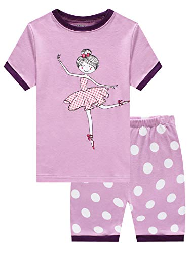 Dancing Girl Little Girls Short Sleeve Pajamas 100% Cotton Summer Pjs Size 5 ()