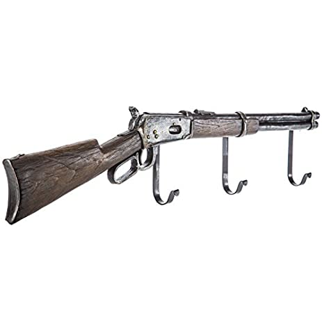 Amazon.com: Rifle Wall Decor with Hooks Coat Hanger Rustic Western ...