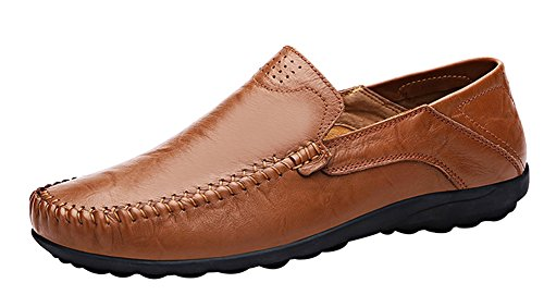 Louechy Men's Liberva Breathable Leather Slip-on Loafers Casual Driver Shoes 8201-47 Brown