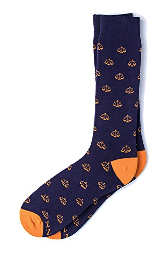 Men's Hipster Legal Scales of Justice Lawyer Crew Dress Socks (Blue & Orange)