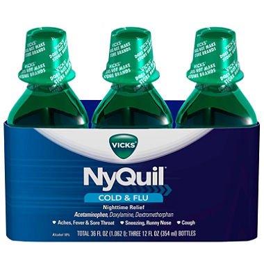 - NyQuil Cold & Flu Relief Liquid, Original (12 fl. oz., 3 pk.)