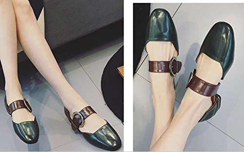 Retro belt buckle shallow mouth single shoes square flat shoes with flat with women's shoes Green SIPTmpxR