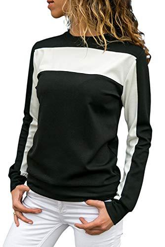 (Ouregrace Womens Casual Long Sleeve Crewneck Sweatshirt Color Block Pullover Top S-XXL)