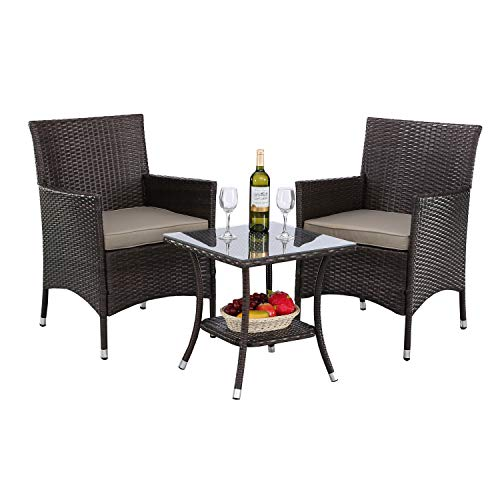 HTTH 3 Pieces Patio Porch Furniture Sets PE Rattan Wicker Chairs Washable Cushion with Tempered Glass Tabletop Outdoor Conversation Garden Backyard Furniture Sets (341-MIX-GRY)