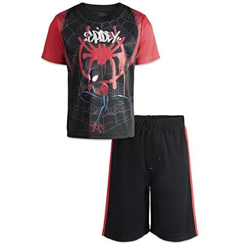 (Marvel Spiderverse Spiderman Miles Morales Little Boys' Athletic T-Shirt Shorts 10)
