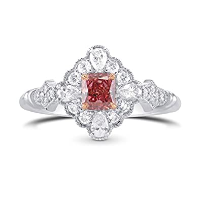 0.84Cts Pink Diamond Ring Argyle Set in 18K White Rose Gold GIA Certificate Size 6