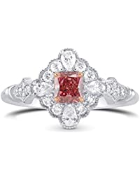0.84Cts Pink Diamond Extraordinary Ring Argyle Set in 18K White Rose Gold GIA Size 6