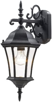 Z-Lite 522S-BK Wakefield Outdoor Wall Light, Aluminum Frame, Black Finish and Clear Beveled Shade of Glass Material
