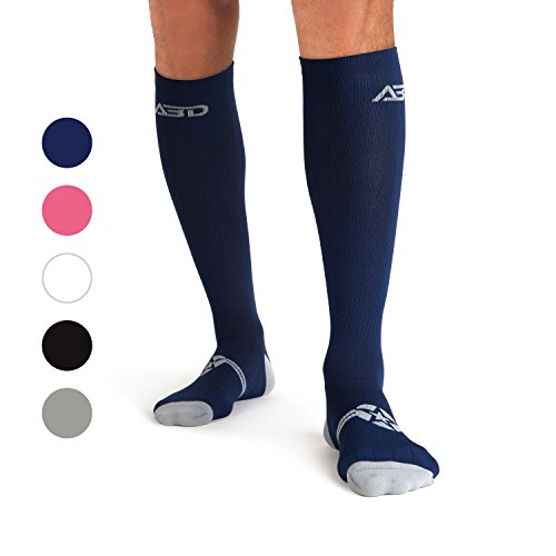 ABD ATHLETE INC. Plus Size Compression Socks 4 Wide Calf, Big and Tall, Men & Women 15-20 mmHg Reduce Pain Swelling. Maternity Nurse Travel Diabetic & Medical (WF MED, Navy)