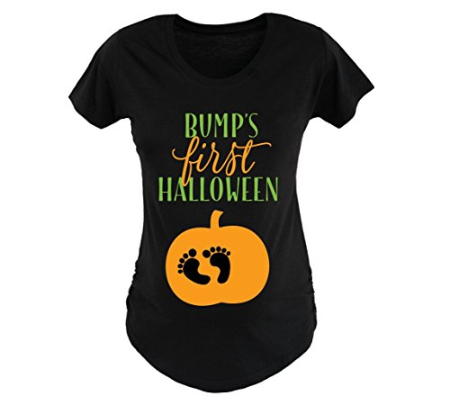 Halloween Maternity Shirt Bump's First Halloween, Trick or Treating Shirts for Women Mom Halloween Outfit ()