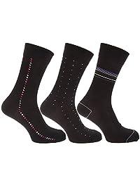 Mens Dot/Stripe Pattern Bamboo Rich Socks (Pack Of 3)