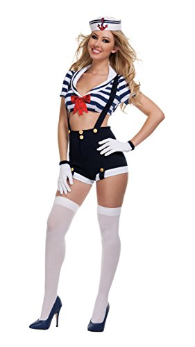 Sexy Sailors Costumes (Starline Women's Sexy Harbor Hottie Costume Set, Blue, Medium)