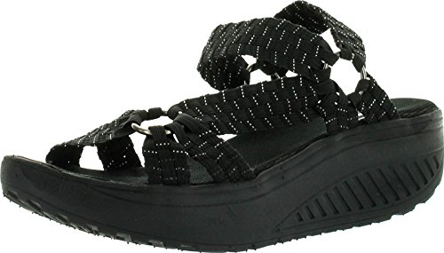 Corkys Womens Quickstep Woven Comfort Fashion Sandals,Black/Silver,10