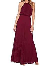 Angel Legend Women's Halter Pleated Chiffon Formal Evening Beach Maxi Dress