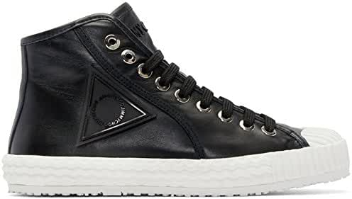 Jimmy Choo Black Naappa (Italian Calf) Leather Logo Hi-Top Trainer Size 44 EU / 11 US