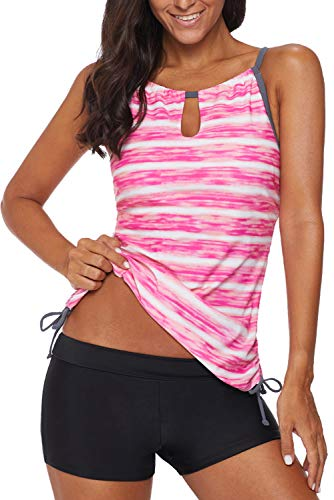 REKITA Womens Stripe Printed Tankini Top with Boyshort Swimsuits Bathing Suits Pink ()