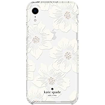 Kate Spade New York Phone Case for Apple iPhone XR Protective Phone Cases with Slim Design Drop Protection and Floral Print, Hollyhock Cream/Blush/Crystal Gems/Clear