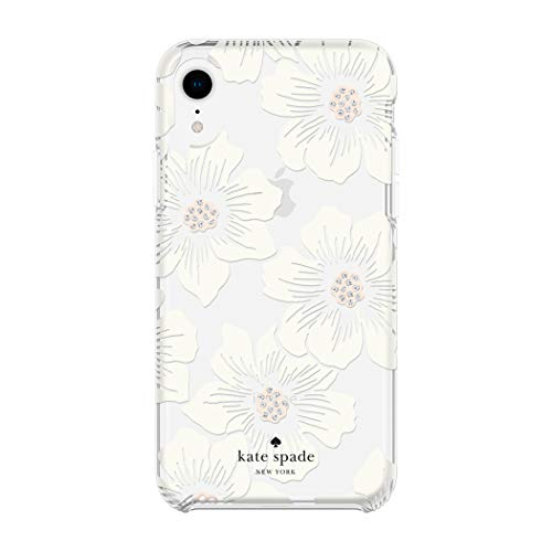- Kate Spade New York Phone Case for Apple iPhone XR Protective Phone Cases with Slim Design Drop Protection and Floral Print, Hollyhock Cream/Blush/Crystal Gems/Clear