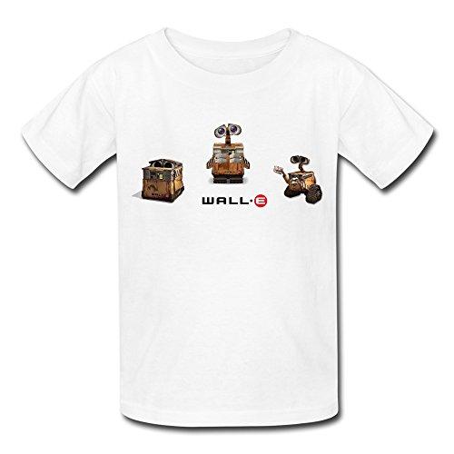 Kids Boys Girls T-shirt Wall E Robot Styles White Size S