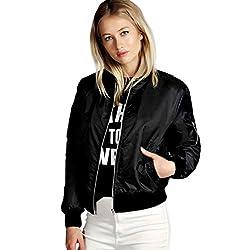 Wensltd Women Bomber Jacket Flight Jacket Motorcycle Soft Zipper Short Coat Jacket Xl Black