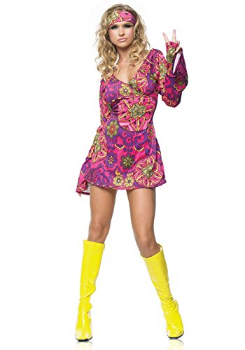 Go Sexy Costumes (Leg Avenue Women's 2 Piece Hippie Girl Costume Retro Print Bell Sleeves Go Go Dress With Head Band,)