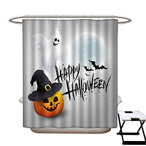homecoco Halloween Polyester Fabric Shower Curtain Liner Happy Celebration Typography Stained Look Cute Ghost Pumpkin Hat Print No Chemical Odor,Rust Proof Grommets Holes White Black -