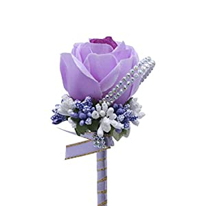 Bridal boutonniere - artificial rose - suitable for wedding scenes, banquet occasions, etc. (Light purple) 81