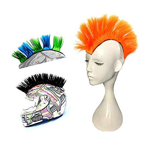Hai Hong Helmet Hawks Motorcycle Helmet Mohawk Synthetic Wigs for Bicycle/Almost Helmet/Stick Reusable Design/Yellow