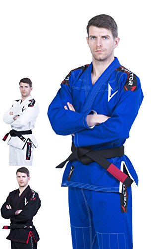Vector Sports Lightweight Pearl Weave Brazilian Jiu Jitsu BJJ Gi Kimono Preshrunk 100% Cotton Fabric Attila Series (Blue, A0) (Karate Gi Women)