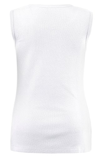 Ulla Popken Damen große Größen | Basic Top | elastisch | Runder Halsausschnitt | bis Größe 62/64 | weiß 46/48 706270 20-46+