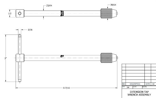 "1//16/"" 1//16/"" Starrett 93A T-Handle Tap Wrench 5//32/"" Squar... 3//16/"" Tap Size"