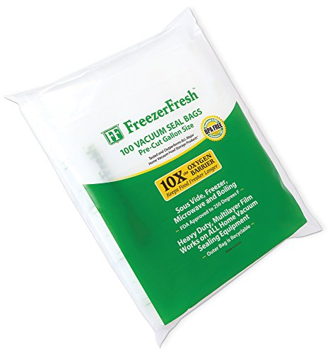 100 Pack - Freezer Fresh Gallon Size Commercial Grade Vacuum Seal Individual Bags. Food Storage Bags Compatible with FoodSaver, Sous Vide and more