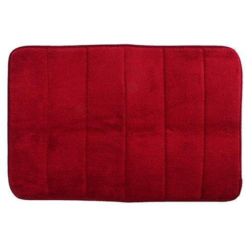 40x60cm Coral Velvet Memory Foam Rug Bathroom Mat Soft Non-slip Floor Carpet (Rose Red)