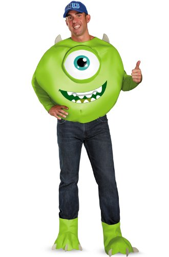 Disguise Men's Disney Pixar Monsters University Mike Deluxe Costume, Green/White/Blue, X-Large/42-46