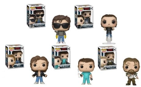 (POP Television Strangers Things S2 W5 Eleven Elevated, Steve, Bob in Scrubs, Billy at Halloween, Hopper w/Vines Vinyl Figures)