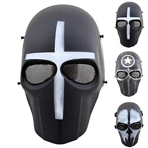 Outgeek Airsoft Mask Full Face Protective Mesh Mask Skull Mask for Costume(Crusader)
