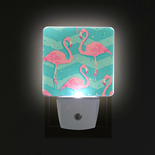 ALIREA Flamingo Birds Pattern Plug in LED Night Light Auto Sensor Smart Dusk to Dawn Decorative Night for Bedroom, Bathroom, Kitchen, Hallway, Stairs,Hallway,Baby's Room, Energy Saving
