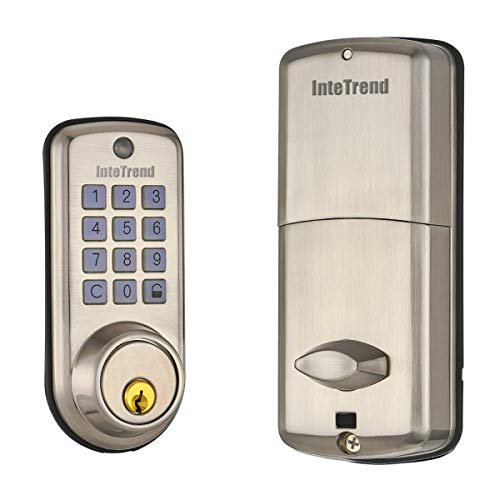 [Newest] Smart Door Lock, InteTrend Smart Electronic Deadbolt Lock with Keypad, Unlock by Smart Code or Key, Enabled Auto Lock & Financial Level Encryption Technology for Home/Hotel/Apartment