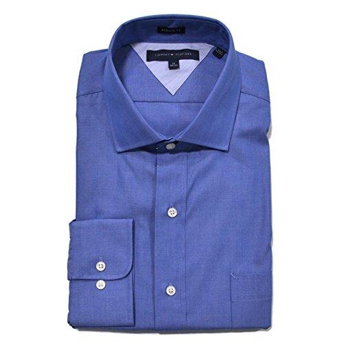 Tommy Hilfiger Men's Regular Fit Pinpoint Dress Shirt, Empire Blue, 16