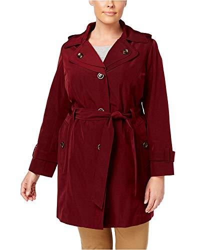 (London Fog Women's Plus Size Layered-Collar Trench Coat Burgundy 0X)