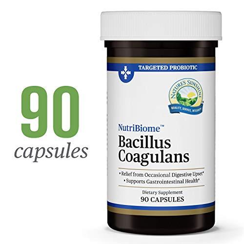 - Nature's Sunshine Nutribiome Bacillus Coagulans Probiotics, 90 Capsules   3 Billion CFU of Bacillus Coagulans Probiotic Helps Defend Against Digestive Upset and Occasional Diarrhea, Gas and Bloating
